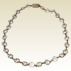 Antique Edwardian Sterling Silver Riviere Sparkling Paste Necklace
