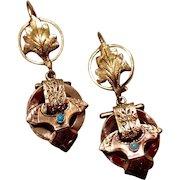 Vintage 14K Gold & English 9K Gold Black Enamel Turquoise Dangle Earrings