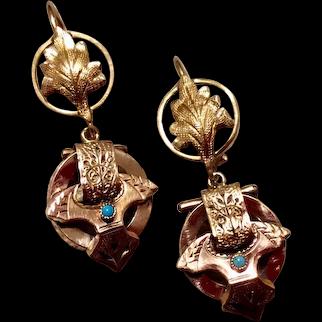 Upcycled 14K Gold & English 9K Gold Black Enamel Turquoise Dangle Earrings