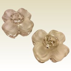 Vintage Set Of Two Floral Shaped Candle Holders