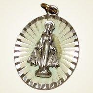 Vintage German Silver Tone Miraculous Medal