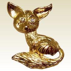 Vintage Gold Tone Metal Fox Brooch