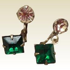 Vintage Emerald Green Rhinestone And Clear Rhinestone Dangle Earrings