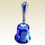 """Vintage Colbalt Blue Cut Glass  8 1/2"""" Tall Bell"""