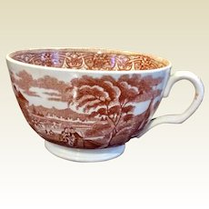 Brown Transferware Coffee Cup