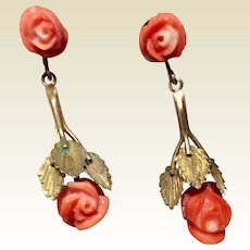 Vintage European Gold. Vermeil FLoral Coral Dangle Earrings