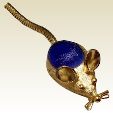Darling Small Gold Tone Metal Mouse With Flexible Tail
