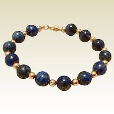 Vintage 14 K Gold Filled Lapis & Gold Filled Bead Bracelet 6""