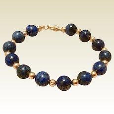 """Vintage 14 K Gold Filled Lapis & Gold Filled Bead Bracelet 6"""""""
