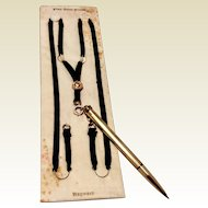 Vintage 10 K Cross Gold Filled Mechanical Pencil & Black Silk Ribbon Hayward Pendant Necklace