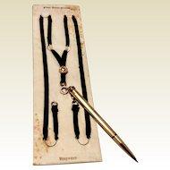 Vintage 10 K Cross Gold Filled Mechanical Pencil & Black Silk Ribbon Hayward Pendant Necklace