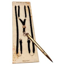 Cross Mechanical Pencil & Black Silk Ribbon Hayward Pendant Necklace