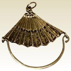 Vintage Sterling Silver Fan Shaped Charm Holder Pendant