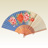 Vintage Oriental Bamboo Hand Painted Hand Fan