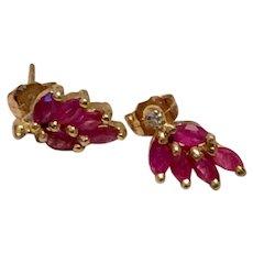 14K Genuine Ruby & Diamond Earrings