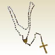 Early 1800's Small White Glass Bead Rosary