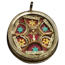 Very Rare Reliquary Theca - True Cross of Jesus Christ & tha Tomb of the Virgin Mary - Early To Mid 1800's - 6 Saints