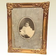 Ornate Metal Gold Tone 3 Way Convex Glass Photo Frame
