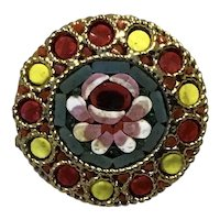 Gold Tone Metal Micro Mosaic Brooch