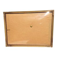 Metal Gold Tone 3 Way Convex Glass Photo Frame