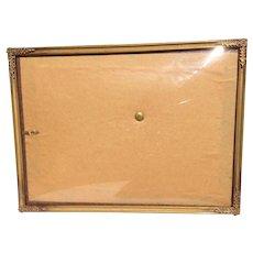 Metal Gold Tone 3 Way Convex Glass Photo Frame