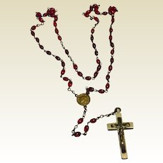 Vintage Red Glass Bead Rosary