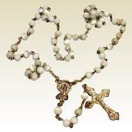 White Glass Bead Rosary