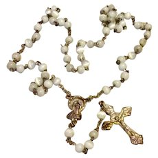 White Glass Bead Rosary