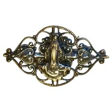 Miraculous Gold Tone Metal Catholic Brooch