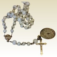 Milky White Glass Bead Aluminum Early Rosary - Extra Medal