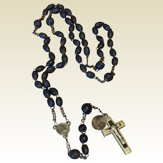 Saint Anne De Beaupre Souvenir 37 Black Bead Rosary