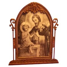 IHS Catholic Gold Tone Metal Picture Frame