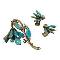 Turquoise Blue Crown Trifari Mechanical Bell Flower Brooch & Earrings 1950'S