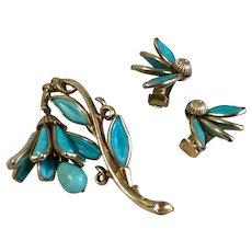 Rare 1950's Turquoise Blue Crown Trifari Mechanical Bell Flower Brooch & Earrings