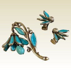 Rare 1950's Turquoise Blue Crown Trifari Mechanical Bell Flower Brooch & Earrings