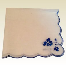 Vintage White Cotton Hankie With Blue Scalloped Edge & Blue Flowers