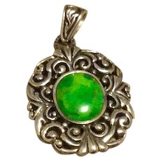 Estate Sterling Silver Oval Green Stone Pendant