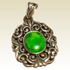 Estate Sterling Silver Oval Green Stone Pendant