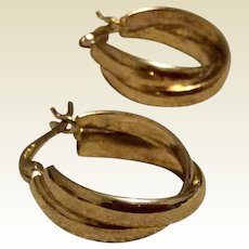 Vintage Sterling Silver Gilt Vermeil Hoop Earrings