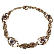 12K Gold Filled Amethyst Glass Flexible Link Bracelet