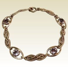 12K Gold Filled Amethyst Glass Flexible Link Bracelet