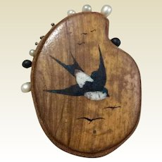 French Sparrow Wooden Pin Cushion