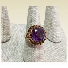 Synthetic Alexandrite 9.65CT 14K Gold Cocktail Ring Size 8