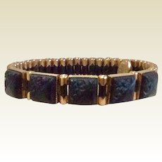 Black & Gold Filled Stretch Bracelet Victorian