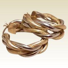 Textured Braided 14K Gold Earrings