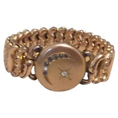 Sweetheart Stretch Expansion Locket Bracelet Rhinestone Moon & Star
