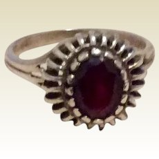 Garnet Colored Stone Sterling Silver Ring Size 8