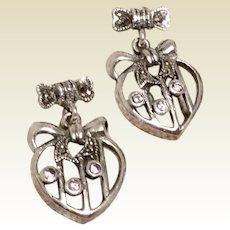 Marcasite Sterling Silver Heart Shaped Dangle Earrings