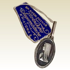 Virgin Mary Art Deco Sterling Silver Medal