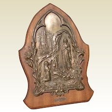 Our Lady Of Lourdes Bronze & Wooden Plaque Music Box